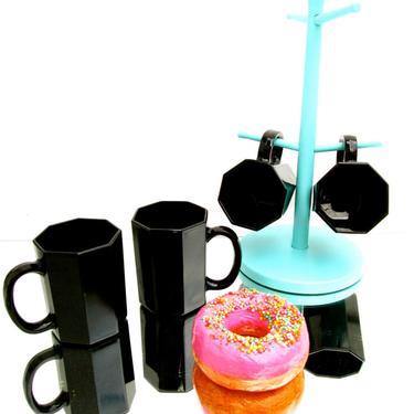 Vintage 5-Piece Coffee Mugs & Caddy Set   Turquoise Metal Mug Tree + 4 Black Octagon Mugs Made in France    Retro Kitchen Decor by ELECTRICmarigold