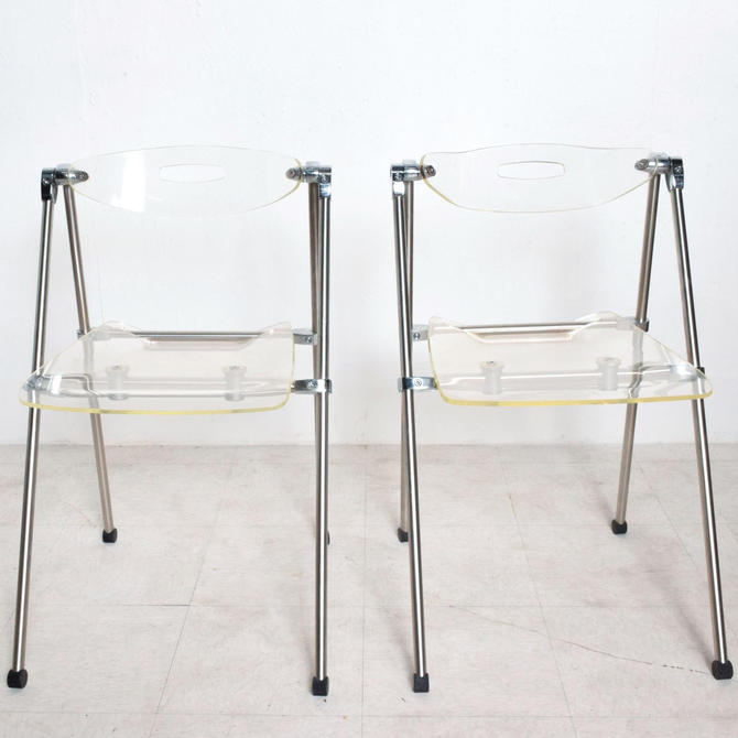 Mid Century Modern Pair Italian Lucite Folding Chairs Attr G. Piretti for Castelli by AMBIANIC