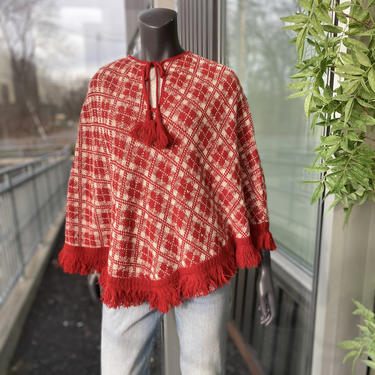 GARLAND Vintage Women's Tasseled Sweater Poncho - One Size 1980s Red White Plaid Keyhole Tie Fringe Knit Blanket Cape by AIDSActionCommittee