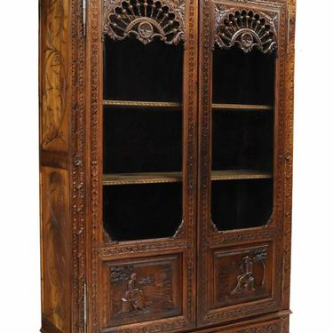 Antique Bookcase, Cabinet, French Breton Carved Oak, 19th / 20th C.