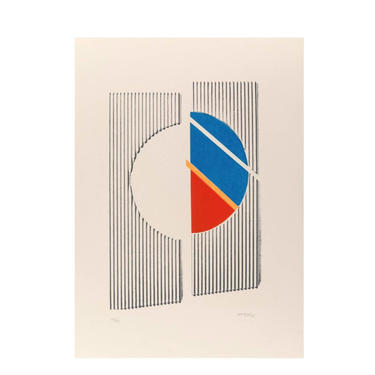 Michael Argov Untitled 2 Minimalist Geometric Abstract 1969/1970 Signed, Serigraph - Op Art by LynxHollowAntiques