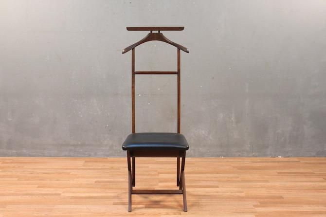Dark Wood & Vinyl Valet Chair – ONLINE ONLY