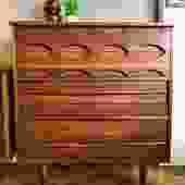 1960's Walnut Highboy Dresser w/extra deep bottom Drawer