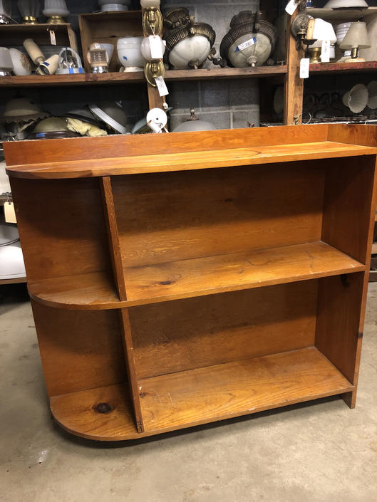 """Wood bookcase with curved left edge 46"""" X 42.5"""" X 12"""""""