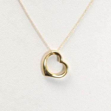 "FZN Jordon 14k Gold Open Heart Necklace Pendant Charm Dainty Rope Chain 17.5"" by HouseofVintageOnline"