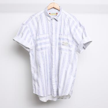 grunge nirvana Men's large vintage BLOCK STRIPE 90s crew long sleeve COTTON shirt -- Made by Shah Safari by CairoVintage