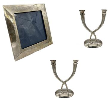 Late 20th Century Sterling Silver Candle and Picture Frame Set by Villa by HarveysonBeverly