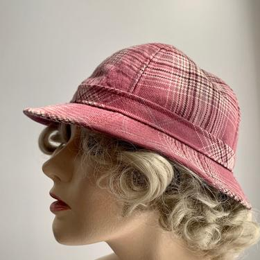 1970'S-80's Plaid Hat - Pink Tartan Plaid From England - Mod Bowl Shape with Tight Brim - Size Medium by GabrielasVintage