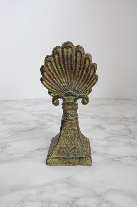 Decorative Finial Statue - Metal Finial - Decorative Metal Statue - Seashell Finial by PursuingVintage1