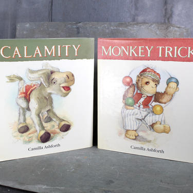 Monkey Tricks & Calamity by Camilla Ashforth - Set of 2 FIRST EDITIONS - Stunning Watercolor Illustrations - Great Baby Gift | Free Shipping by Trovetorium