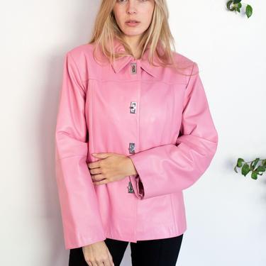 Vintage Bubblegum Pink Lambskin Leather Toggle Blazer 90s Y2K Minimal Trench Jacket by backroomclothing