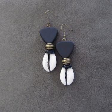 Cowrie shell earrings, black and bronze earrings, Afrocentric African tribal dangle earrings, spiral wire wrapped earrings, bold statement by Afrocasian