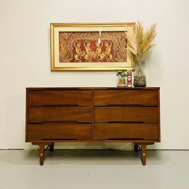 Mid Century Stanley Walnut Six Drawer Double Lowboy Dresser, MCM Dresser With Brass Accents, Vintage Lowboy Dresser, Mid Century Bedroom by VivaLaVintagedotTX