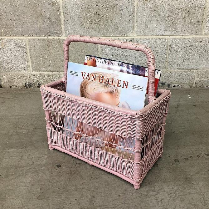Vintage Record Holder Retro 1980s Bohemian Lilac Wicker Magazine Rack Rectangular Shaped Storage with Top Handle for Living Room Decor by RetrospectVintage215