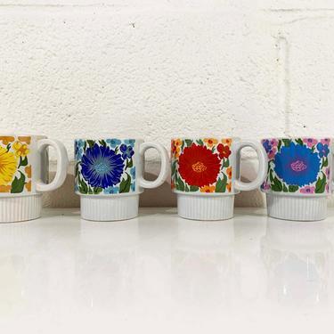 Vintage Rainbow Floral Mugs Flowers Pedestal Stacking Cups Ceramic Flower Coffee Mug Tea Mid Century Japan Colorful Retro Kawaii Cute by CheckEngineVintage