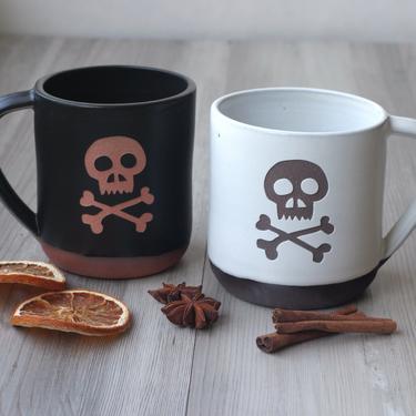 Skull Halloween Mug - spooky handmade pottery in our Farmhouse Collection by BreadandBadger