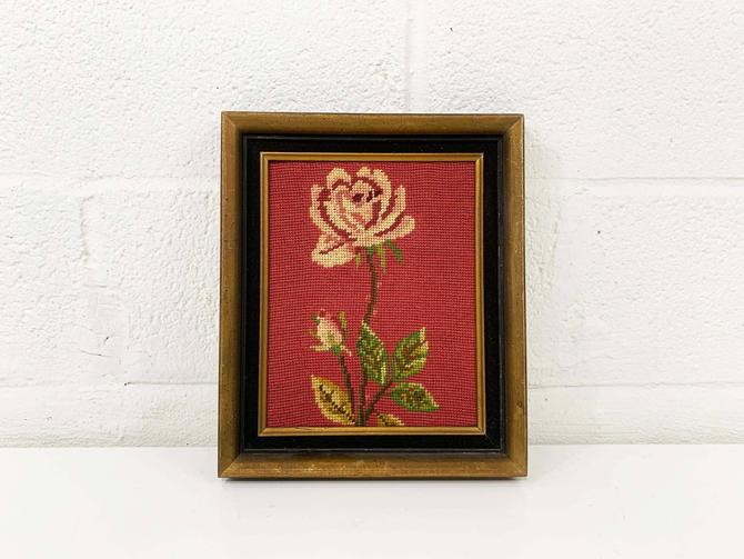 Vintage Rose Needlepoint Floral Crewel Framed 1970s Kitsch Retro Decor Wall Hanging Kitschy Pink Flowers Flower Handmade Framed by CheckEngineVintage
