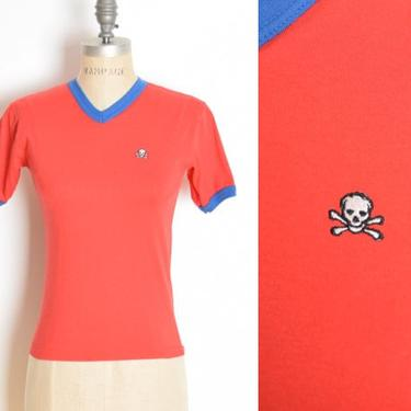 vintage 80s tee top red blue ringer SKULL embroidered t shirt baby tee XS S clothing by huncamuncavintage