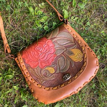 70s ROSE tooled leather purse / vintage 1970s flower embossed Mexico brown shoulder bag by ritualvintage