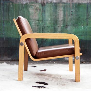 RARE THONET Mid Century Oak Bentwood + Chrome Armchair / lounge Chair + Ottoman MCM 70's Designer Danish Mod Eames Accent Chair by CatchMyDriftVintage
