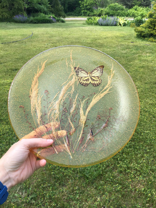Vintage Pressed Flower Tray With Butterfly Resin Pressed