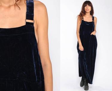 85a5367cb3b Velvet Overall Dress 90s Maxi Grunge Pinafore Column Dark Blue Bib Jumper  Dress LOW ARMHOLE Pocket