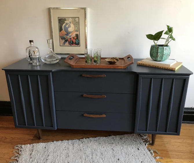 SOLD**Charcoal Grey Mid Century Modern Credenza//Refinished MCM  Dresser//Vintage Modern Sideboard//Painted Mid-Century Modern Furniture by  ...