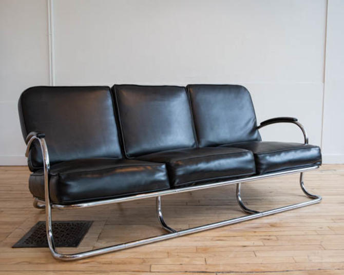 Kem Weber Art Deco Chrome Sofa From