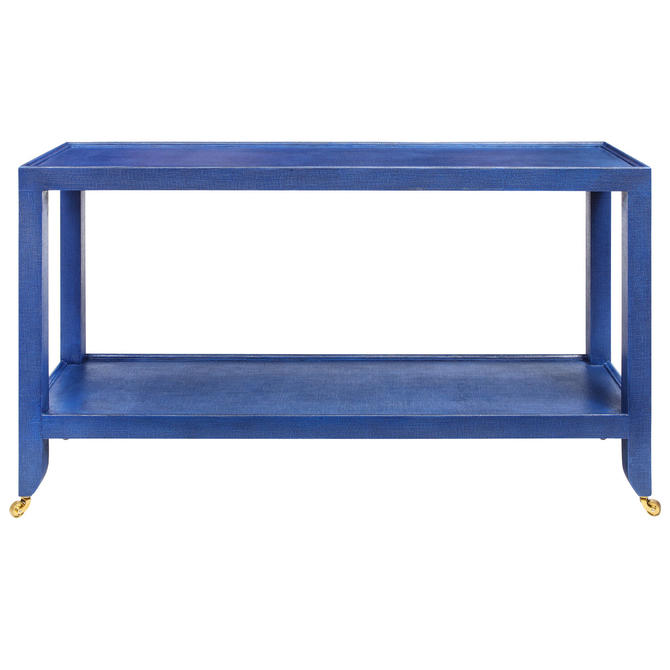 Karl Springer Duchess Console in Blue Lacquered Linen 1990s (Signed)