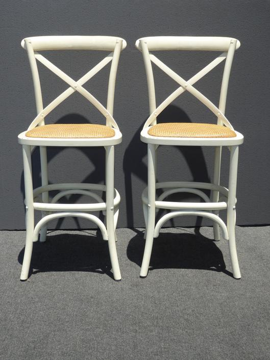 Pair Two Vintage French Country Style White Rye Seats Bar Stools by VintageLAfurniture