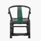 Teal Blue Lacquer Oriental Horse Shoe Curve Shape Accent Fusion Chair cs5370S