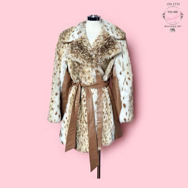 Vintage Faux Fur Leather Coat Jacket 1960's, 1970's Hippie, Boho, Brown Tan Beige White Leopard Print, Wrap Tie Belt, England MOD Boutique by Boutique369