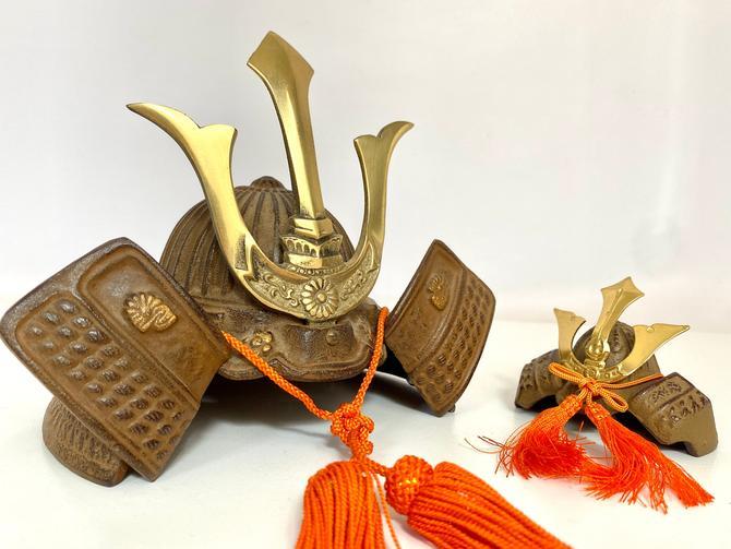 Vintage Cast Iron Japanese Kabuto Samurai Helmuts by TheBrassFig