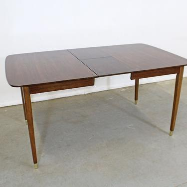 Mid-Century Modern Extendable Walnut Surfboard Dining Table w/ Hidden Leaves by AnnexMarketplace