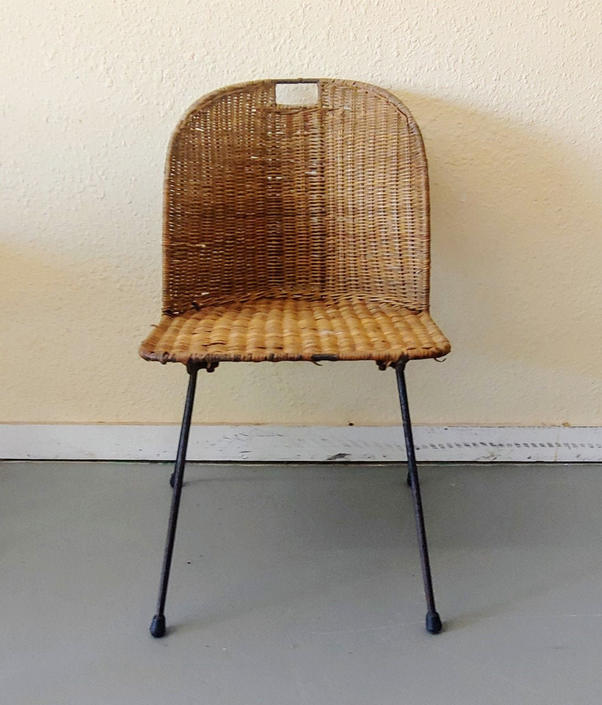 Vintage Modern Salterini Style Wicker and Wrought Iron Side Chair by ModandOzzie