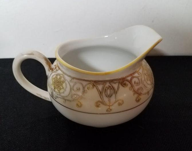 Vintage Noritake Creamer No. 175 Gold Flowers and Scroll on Cream by OverTheYearsFinds