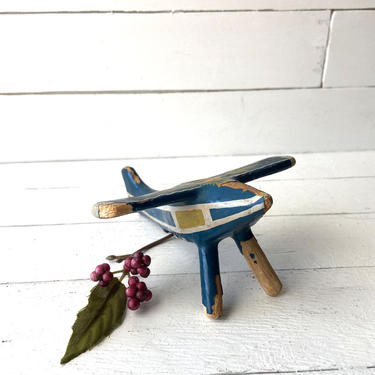 Vintage Hand Painted Airplane, Folk Art Airplane, Airplane Toy Little Kids, Airplane Collector, Perfect Birthday Gift, Airplane Knick Knack by CuriouslyCuratedShop