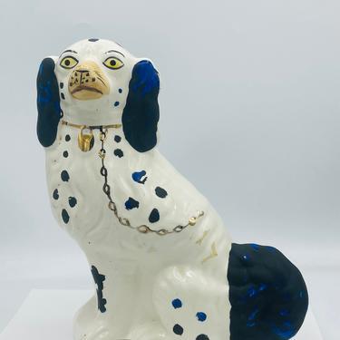 "Vintage Blue Black & White  Staffordshire reproduction King Charles Spaniel Dog Figurine - Mantel Dog 10"" by JoAnntiques"