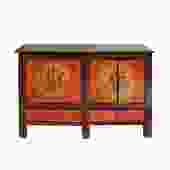 Chinese Vintage Brown Orange Flower Graphic TV Console Cabinet cs5731S