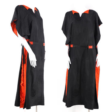 20s black print silk Deco draped Chinoiserie flapper dress / vintage 1920s peacock feather print sheath M-L by ritualvintage