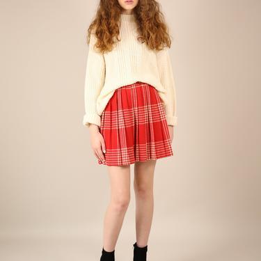 Vtg 60s Red/White Wool Plaid Pleated Miniskirt / Cheerleader Schoolgirl Skirt / XS by AmericanDrifter