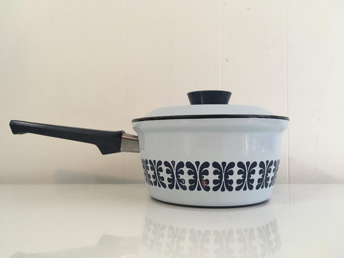 Cathrineholm Enamel Blue Navy Pot Saucepan Norway Mid-Century Vintage Kitchen Catherineholm Norwegian Scandinavian Grete Prytz Kittelsen by CheckEngineVintage