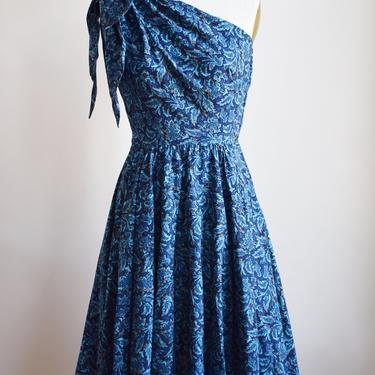 1950s Cotton Paisley One-Shoulder Dress | Vintage 50s Deep Blue Fit and Flare Cocktail Dress | Saks 5th Ave. | XS by wemcgee