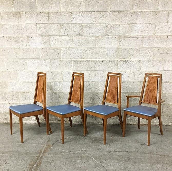 Local Pickup Only Vintage Wood Dining Chairs Retro 1960 S Mid Century Modern Set Of 4 High Cane Back And Vinyl Seats Matching Chairs By