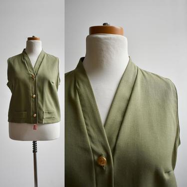 1970s Sage Green Sleeveless Blouse by milkandice