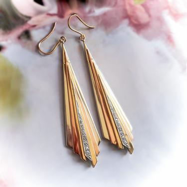 Retro Vintage Diamond Earrings .44ct t.w. Large Tri-Colored Gold Fan Deco Chandelier Drop Earrings 14k Rose Yellow White Gold by YourJewelryFinder