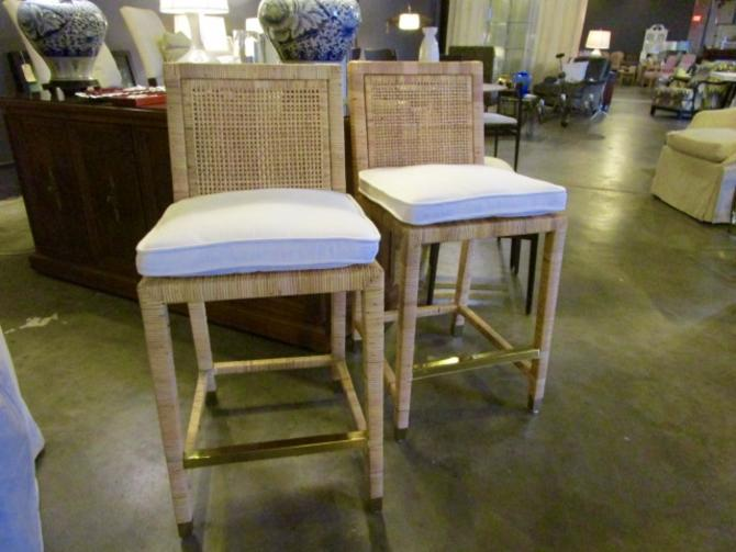 PAIR PRICED SEPARATELY SERENA AND LILY RATTAN COUNTER STOOLS