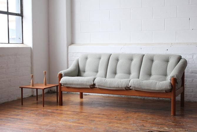 Danish Solid Teak Sofa with Light Teal Woven Upholstery by Domino Mobler by NijiFurnishing