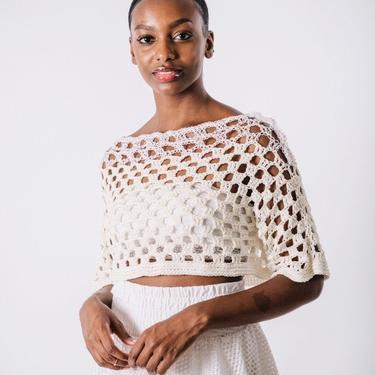 Sailin' On Crop Tee in Clouds/ White Hemp Cotton Crochet Tee/Handmade Crochet Crop Tee/Cropped Mesh Top by KonjoCrochet