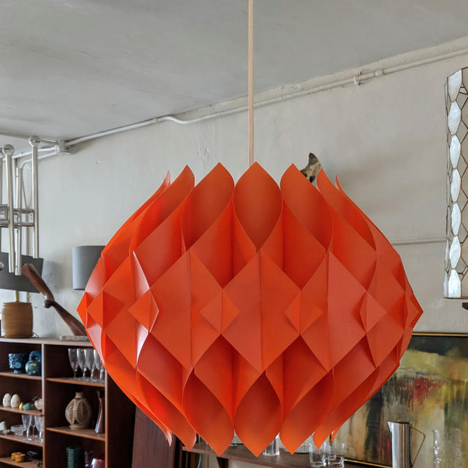 """Mid-Century Modern Danish Orange Pendant Light """"Butterfly"""" by Lars Shiøler for Hoyrup by XcapeVintage"""